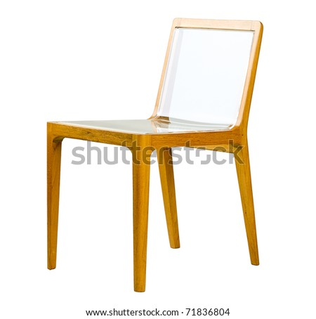 Acrylic seat and wooden can make a modern design chair, the image isolated on white - stock photo
