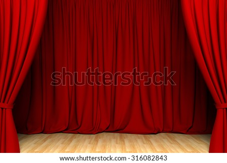 Act drape with red curtains - stock photo