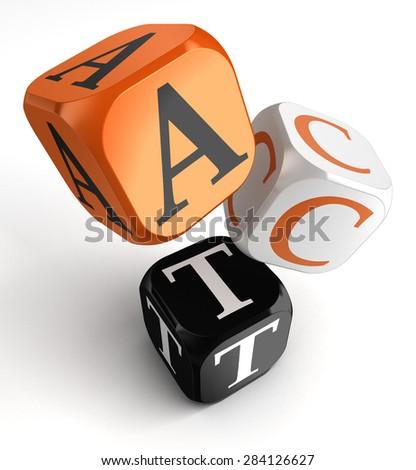 act word on orange black dice blocks on white background - stock photo