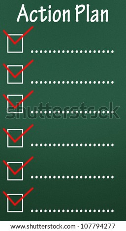 action plan checkbox - stock photo
