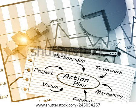 Action plan with the analysis as a concept - stock photo