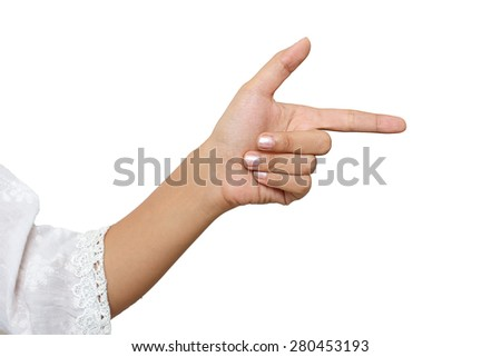 Action pointing isolated white background - stock photo