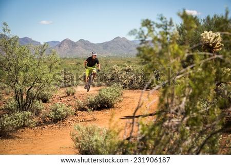 Action Shot of Desert Mountain Biking - stock photo