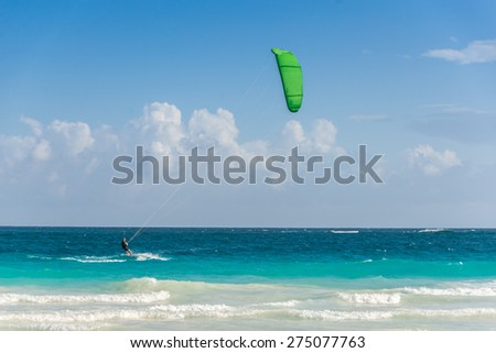 Action Sport at Mexico near Playa del Carmen and Cancun. - stock photo