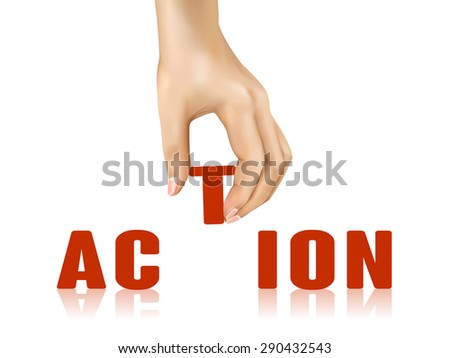 action word taken away by hand over white background - stock photo