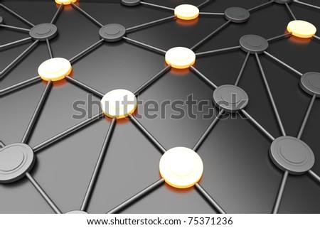 Activated network nodes. 3D rendered Illustration. - stock photo