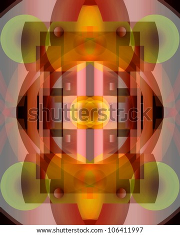 Active and energetic, abstract digital background in orange, yellow and green tones. - stock photo