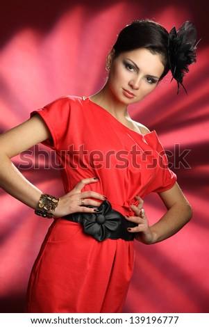 active beautiful girl in studio shooting - stock photo