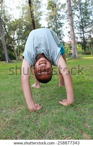 Active boy in the park. - stock photo