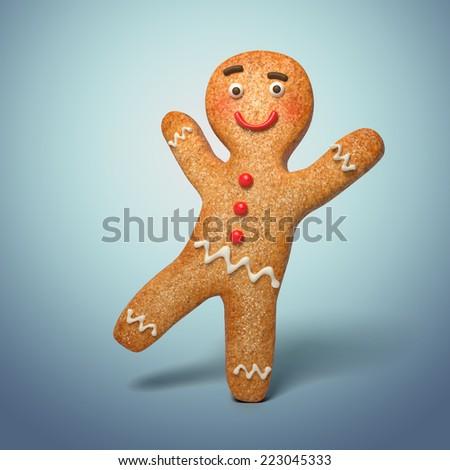 active gingerbread man illustration, 3d cookie cartoon character dancing - stock photo