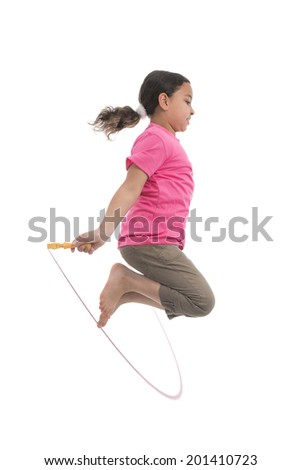 Active Girl Jumping with Skipping Rope Isolated on White Background - stock photo
