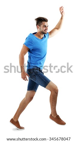 Active guy jumping in joy, isolated on white - stock photo