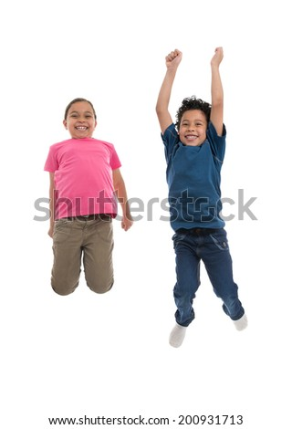 Active Joyful Children Jumping with Joy Isolated on White Background - stock photo