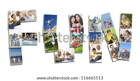 Active people men women and children playing laughing and having fun in summer and winter. Running, swimming, cycling, jumping and being active, the montage spells the word FUN - stock photo