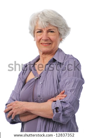 Active Senior lady wearing swimming suit - stock photo