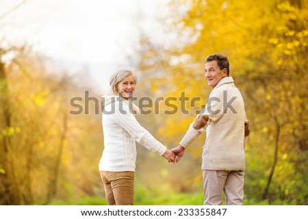 Active seniors having fun and relax in nature - stock photo