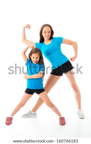 active sporty girls - stock photo