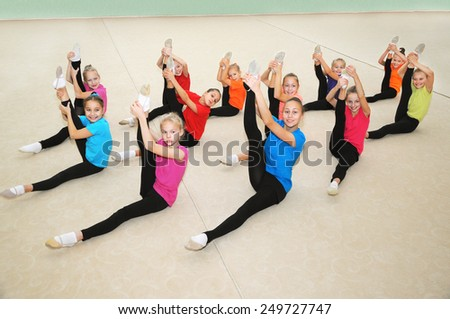 Active sporty girls in gym - stock photo