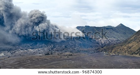 Active volcano Bromo and temple, Java, Indonesia - stock photo