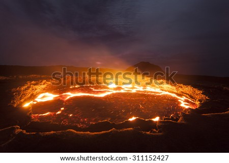 Active volcano, lava lake, Erta Ale, Ethiopia  - stock photo