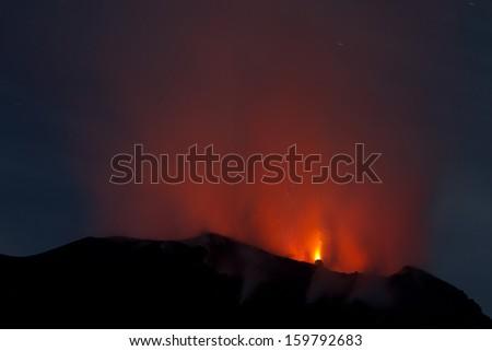 active volcano (Stromboli / Italy) - stock photo