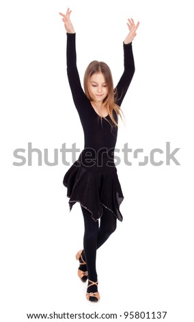 Active young girl dancing, isolated - stock photo
