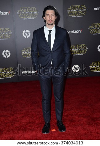 "Actor Adam Driver at the world premiere of ""Star Wars: The Force Awakens"" on Hollywood Boulevard. December 14, 2015  Los Angeles, CA Picture: Paul Smith / Featureflash - stock photo"