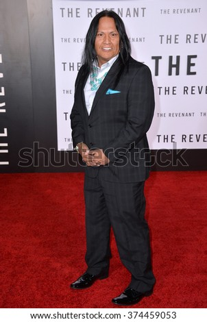 "Actor Arthur Redcloud at the Los Angeles premiere of his movie ""The Revenant"" at the TCL Chinese Theatre, Hollywood. 