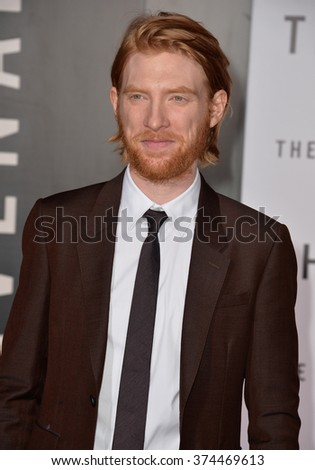 "Actor Domhnall Gleeson at the Los Angeles premiere of his movie ""The Revenant"" at the TCL Chinese Theatre, Hollywood.  December 16, 2015  Los Angeles, CA Picture: Paul Smith / Featureflash - stock photo"