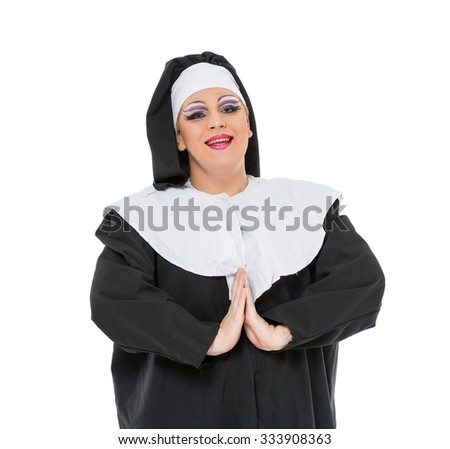 Actor Drag Queen Dressed as Nun, on white background - stock photo