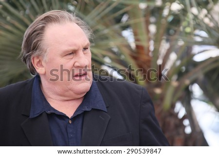 Actor Gerard Depardieu attends the 'Valley Of Love' photocall during the 68th annual Cannes Film Festival on May 22, 2015 in Cannes, France. - stock photo