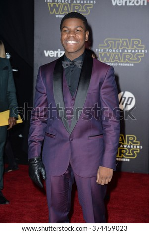 "Actor John Boyega at the world premiere of ""Star Wars: The Force Awakens"" on Hollywood Boulevard.