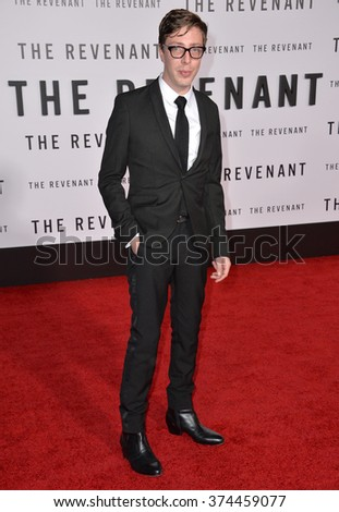 "Actor Joshua Burge at the Los Angeles premiere of his movie ""The Revenant"" at the TCL Chinese Theatre, Hollywood.  December 16, 2015  Los Angeles, CA Picture: Paul Smith / Featureflash - stock photo"
