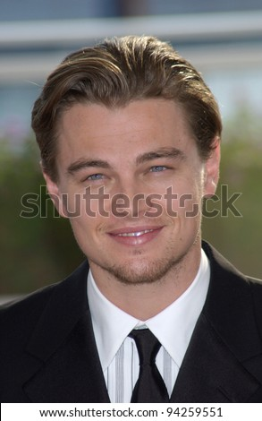 Actor LEONARDO DiCAPRIO at the Cannes Film Festival to promote his new movie Gangs of New York. 20MAY2002.   Paul Smith / Featureflash - stock photo