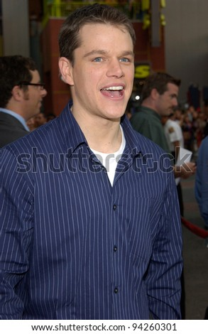 Actor MATT DAMON at the world premiere, in Hollywood, of his new movie The Bourne Identity. 06JUN2002.  Paul Smith / Featureflash - stock photo