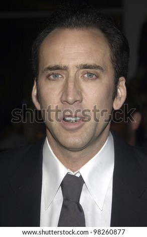Actor/producer NICOLAS CAGE at the Los Angeles premiere of his new movie The Life of David Gale, which he produced. 18FEB2003  Paul Smith / Featureflash - stock photo
