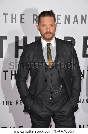 """Actor Tom Hardy at the Los Angeles premiere of his movie """"The Revenant"""" at the TCL Chinese Theatre, Hollywood.  December 16, 2015  Los Angeles, CA Picture: Paul Smith / Featureflash - stock photo"""