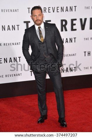 "Actor Tom Hardy at the Los Angeles premiere of his movie ""The Revenant"" at the TCL Chinese Theatre, Hollywood. 