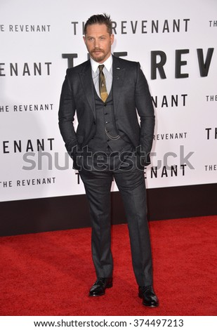 """Actor Tom Hardy at the Los Angeles premiere of his movie """"The Revenant"""" at the TCL Chinese Theatre, Hollywood. December 16, 2015  Los Angeles, CAPicture: Paul Smith / Featureflash - stock photo"""