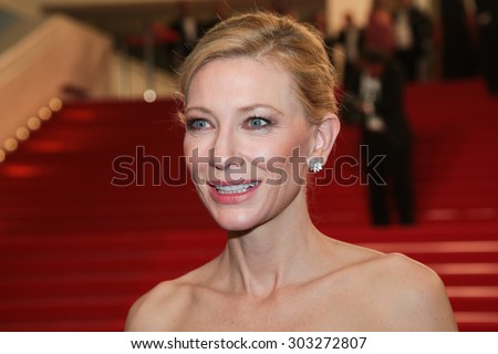 Actress Cate Blanchett attend the 'Carol' Premiere during the 68th annual Cannes Film Festival on May 17, 2015 in Cannes, France. - stock photo