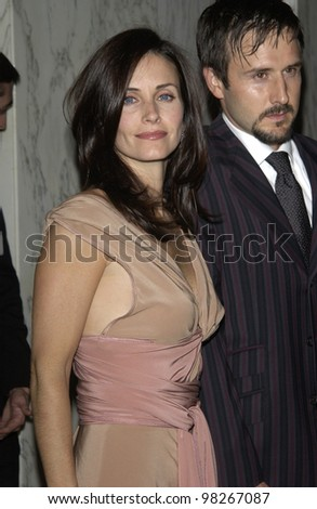 Actress COURTENEY COX ARQUETTE & actor husband DAVID ARQUETTE at the Wellness Community of West Los Angeles Human Spirit Awards Gala, at the Regent Beverly Wilshire Hotel, Beverly Hills. March 26, 2003 - stock photo