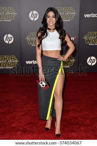 "Actress Emeraude Toubia at the world premiere of ""Star Wars: The Force Awakens"" on Hollywood Boulevard. December 14, 2015  Los Angeles, CA Picture: Paul Smith / Featureflash - stock photo"