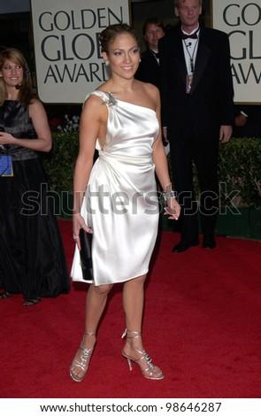 Actress JENNIFER LOPEZ at the 2001 Golden Globe Awards at the Beverly Hilton Hotel. 21JAN2001.   Paul Smith/Featureflash - stock photo