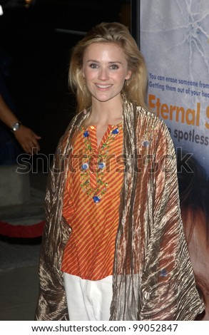 Actress JENNIFER SIEBEL at the world premiere of Eternal Sunshine of the Spotless Mind, in Beverly Hills, CA. March 9, 2004 - stock photo