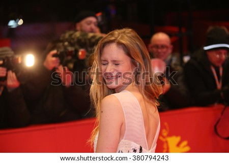 Actress Julia Jentsch attends the '24 Wochen' premiere during the 66th Berlinale International Film Festival Berlin at Berlinale Palace on February 14, 2016 in Berlin, Germany. - stock photo