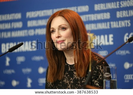 Actress Julianne Moore attends the 'Maggie's Plan' press conference during the 66th Berlinale Film Festival Berlin at Grand Hyatt Hotel on February 15, 2016 in Berlin, Germany. - stock photo