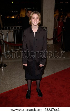 Actress KRISTEN STEWART at the Los Angeles premiere of her new movie Panic Room. 18MAR2002.   Paul Smith / Featureflash - stock photo