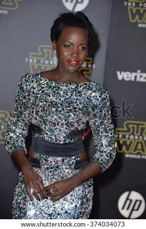 "Actress Lupita Nyong'o at the world premiere of ""Star Wars: The Force Awakens"" on Hollywood Boulevard. December 14, 2015  Los Angeles, CA Picture: Paul Smith / Featureflash - stock photo"