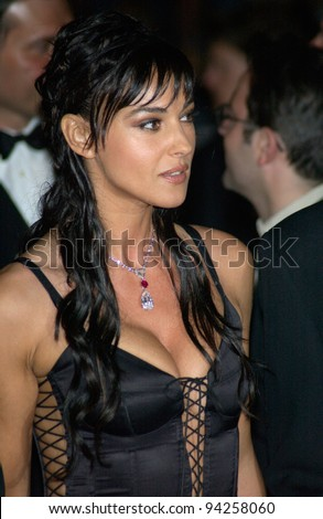 Actress MONICA BELLUCCI at the Cannes Film Festival for the world premiere of their movie Irreversible. 24MAY2002.   Paul Smith / Featureflash - stock photo