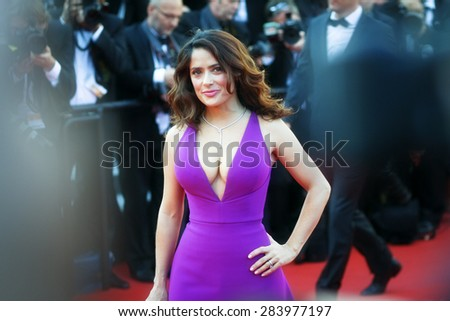 Actress Salma Hayek attends the 'Carol' Premiere during the 68th annual Cannes Film Festival on May 17, 2015 in Cannes, France. - stock photo